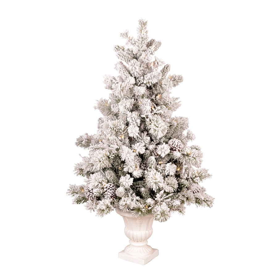 White 4 Foot Christmas Tree: GE 4.5-ft Pre-Lit Pine Flocked White Artificial Christmas