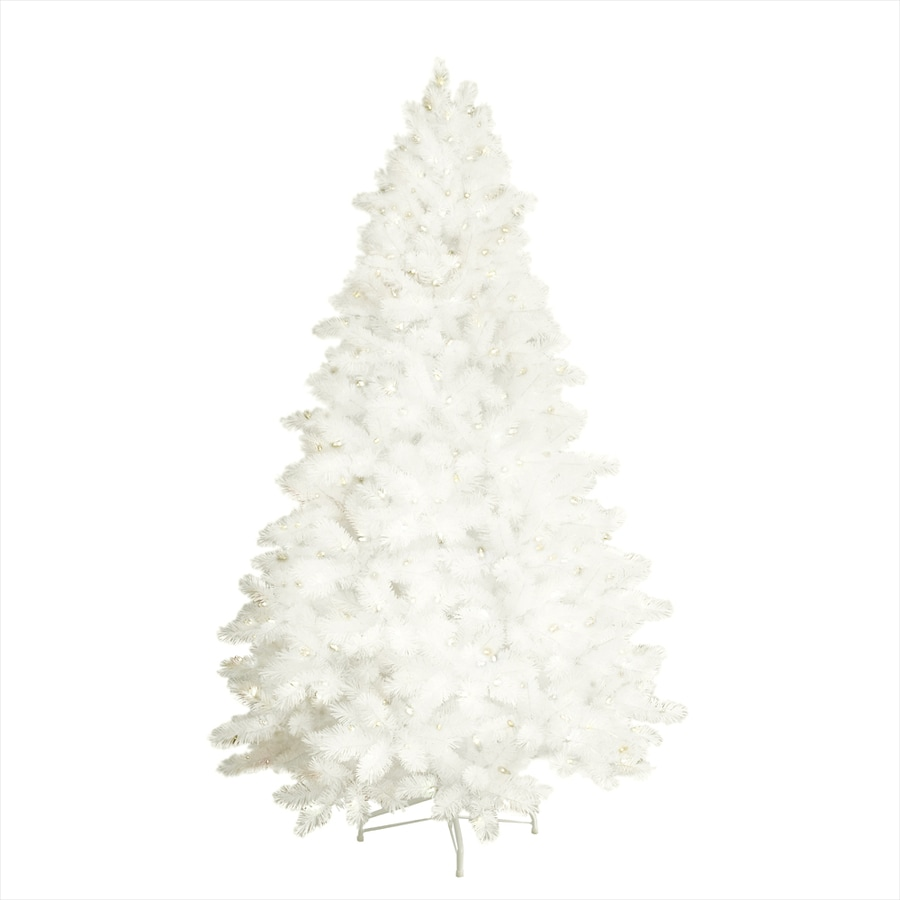 Shop GE 7.5-ft Pre-Lit Pine Flocked White Artificial