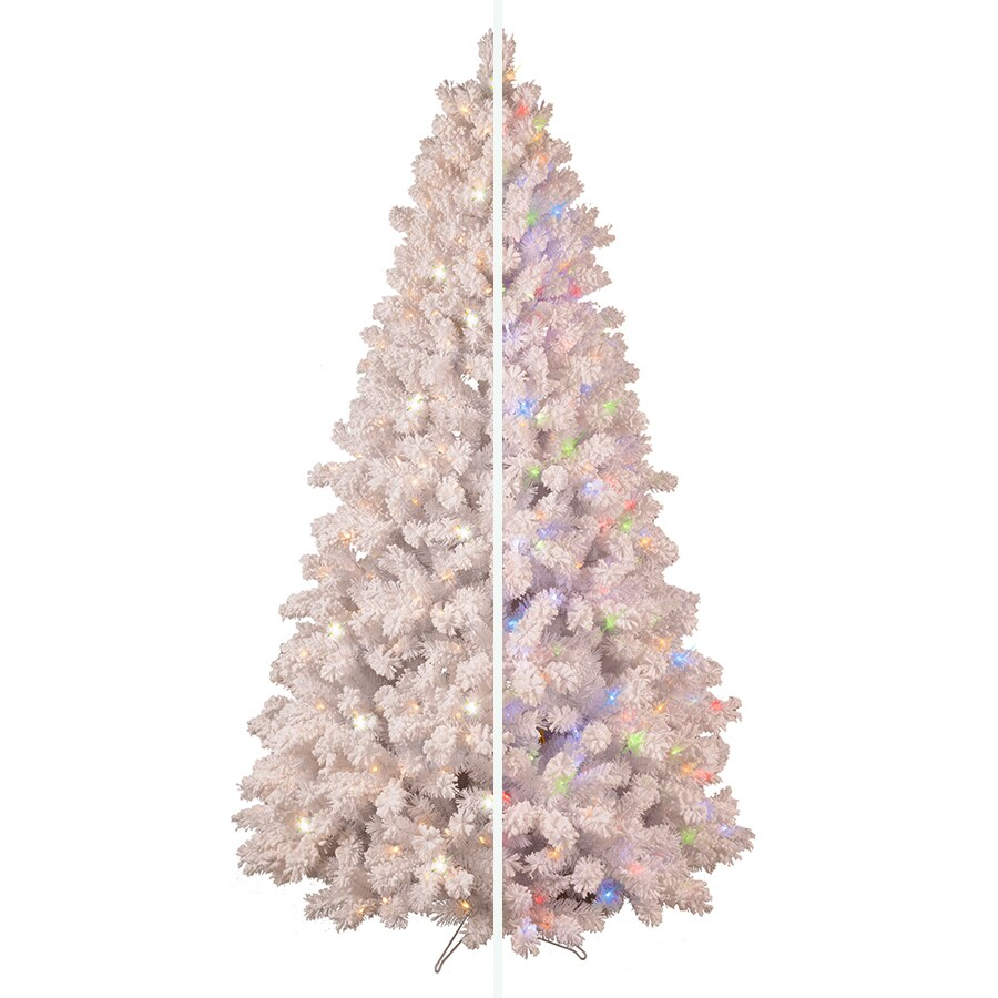 ge 75 ft pre lit pine flocked artificial christmas tree with color changing led