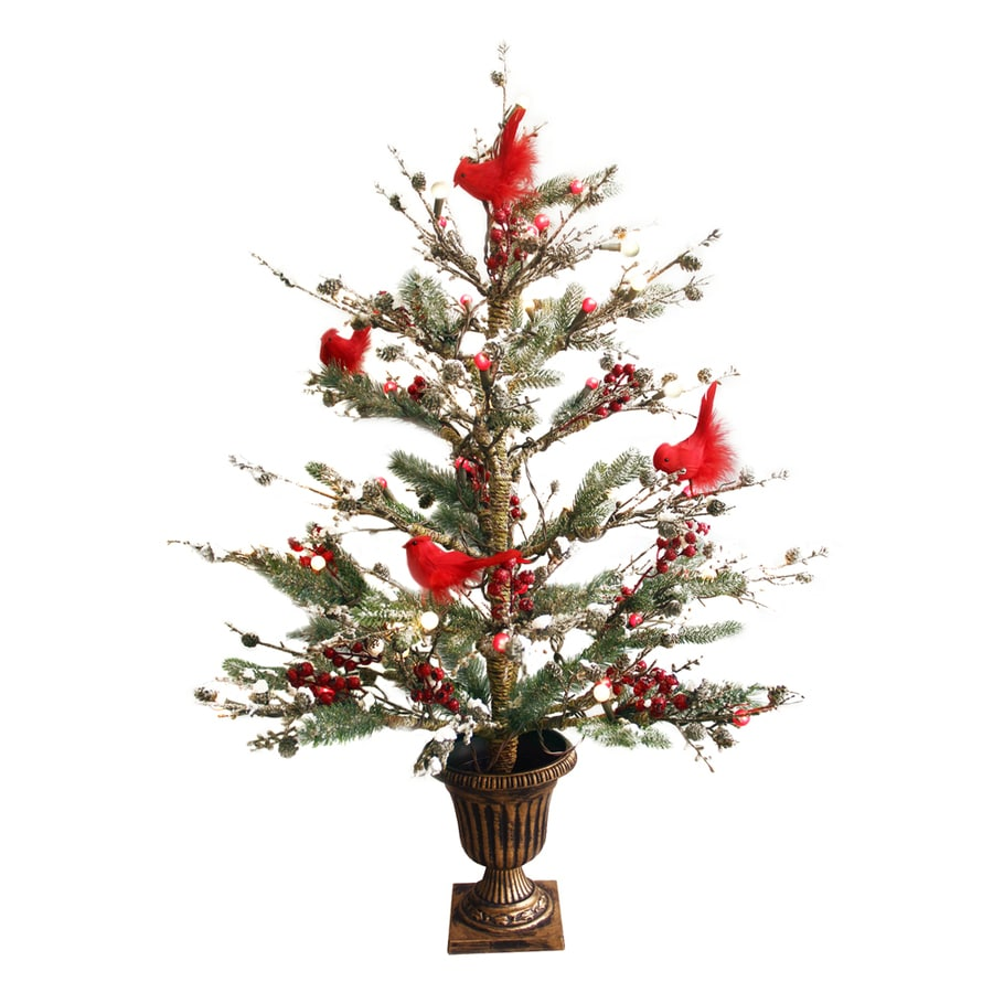 Pre Lit Christmas Twig Tree: GE 3-ft Pre-Lit Twig Brown Artificial Christmas Tree With