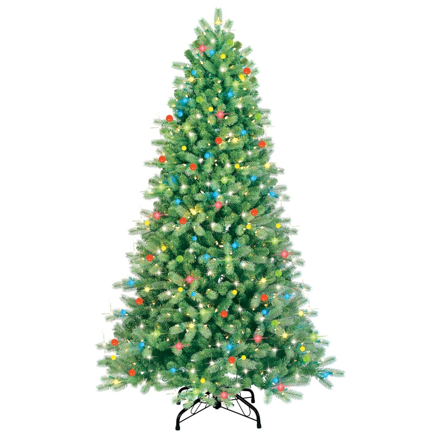 GE 7-ft Pre-Lit Spruce Artificial Christmas Tree with Multicolor Lights