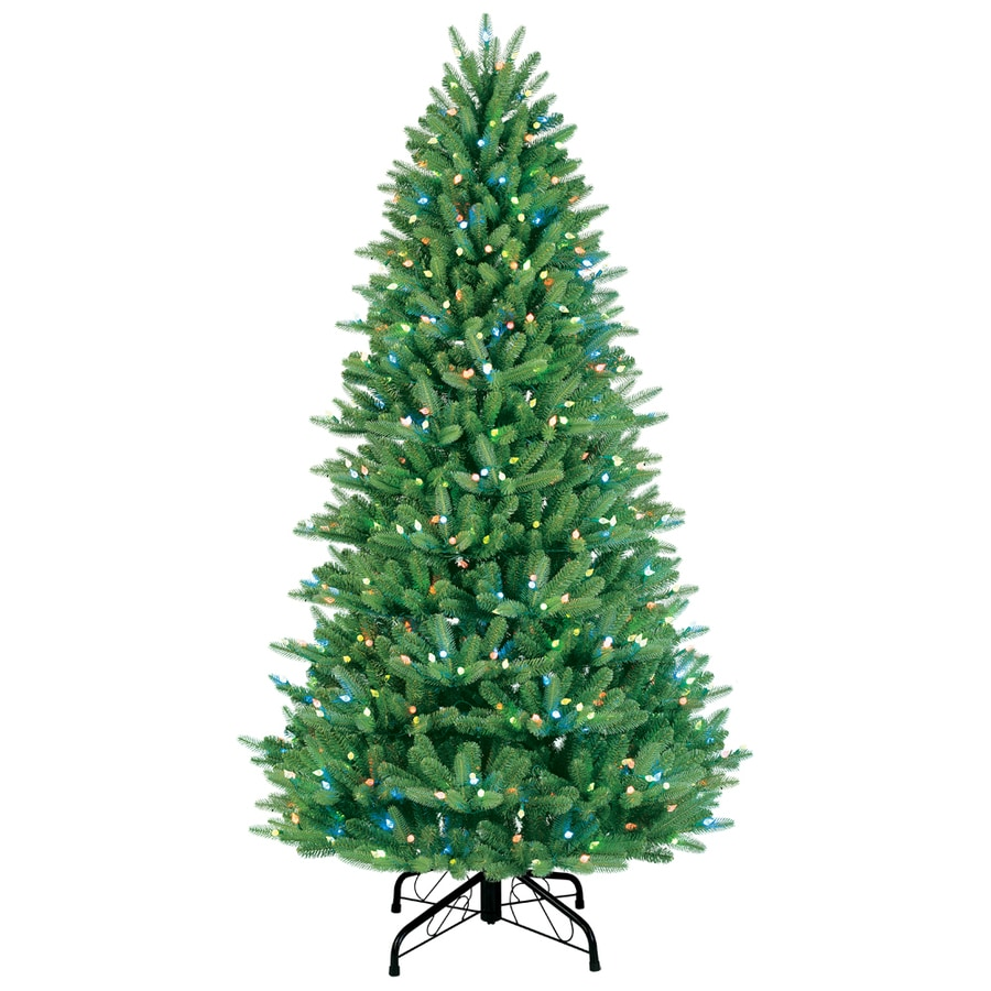 GE 7.5-ft Pre-Lit Fir Artificial Christmas Tree with Multicolor Lights