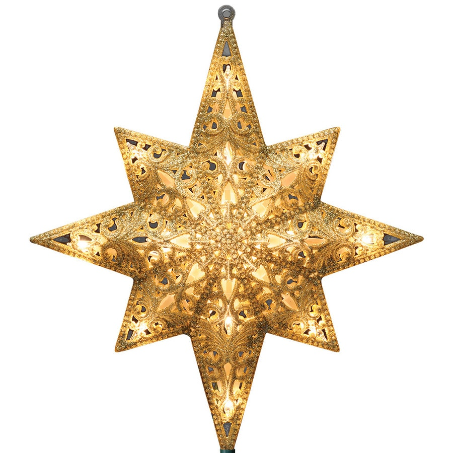Glitter Gold Red Star Tree Topper Decoration Ornament Home Decor