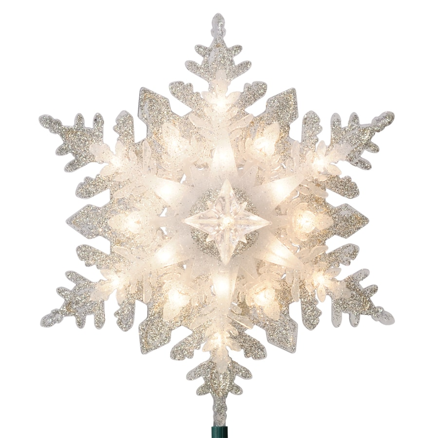 GE 11-in Silver Lighted Plastic Snowflake Christmas Tree Topper with White Incandescent Lights