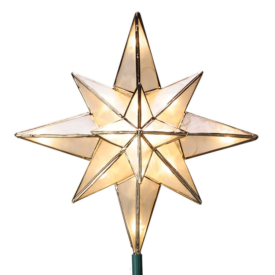 GE 10-in White Lighted Capiz Star Christmas Tree Topper with White Incandescent Lights