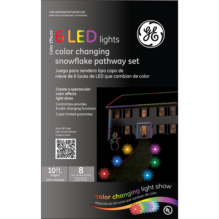 ge 6 pack led snowflake color changing pathway christmas lights