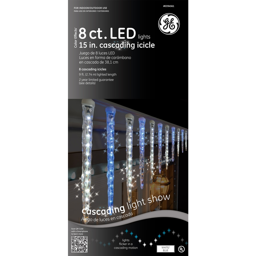 GE 96-Count LED Mini Blue Christmas Icicle String Lights ENERGY STAR