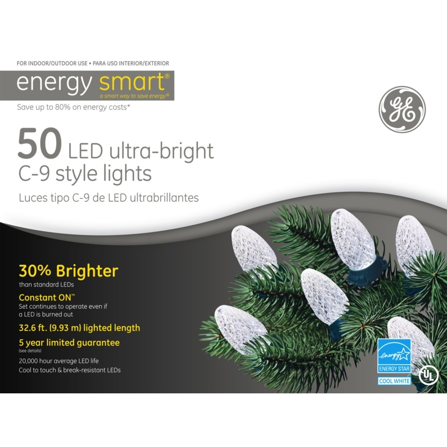 GE 50-Count LED C9 White Christmas String Lights ENERGY STAR