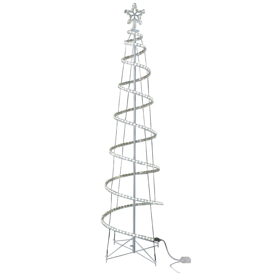 GE 7-ft Freestanding Spiral Tree with Multi-function White LED Lights