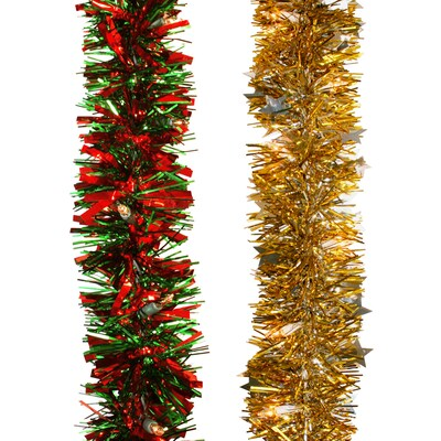 Artificial Christmas Garland.25 Ft Pre Lit Indoor Outdoor Tinsel Artificial Christmas Garland With White Lights