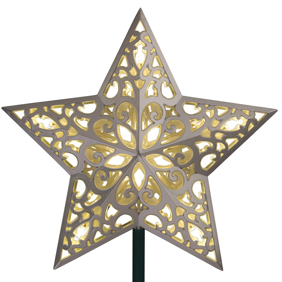 GE 9.75-in Silver Pre-lit Plastic Star Christmas Tree Topper White LED Lights