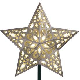 ge 975in silver prelit plastic star christmas tree topper white led lights