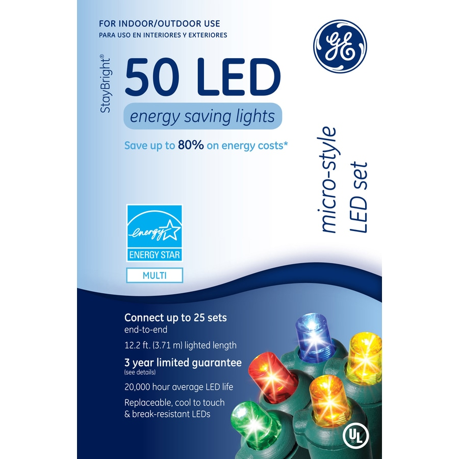 GE 50-Count LED Dome Multicolor Christmas String Lights ENERGY STAR