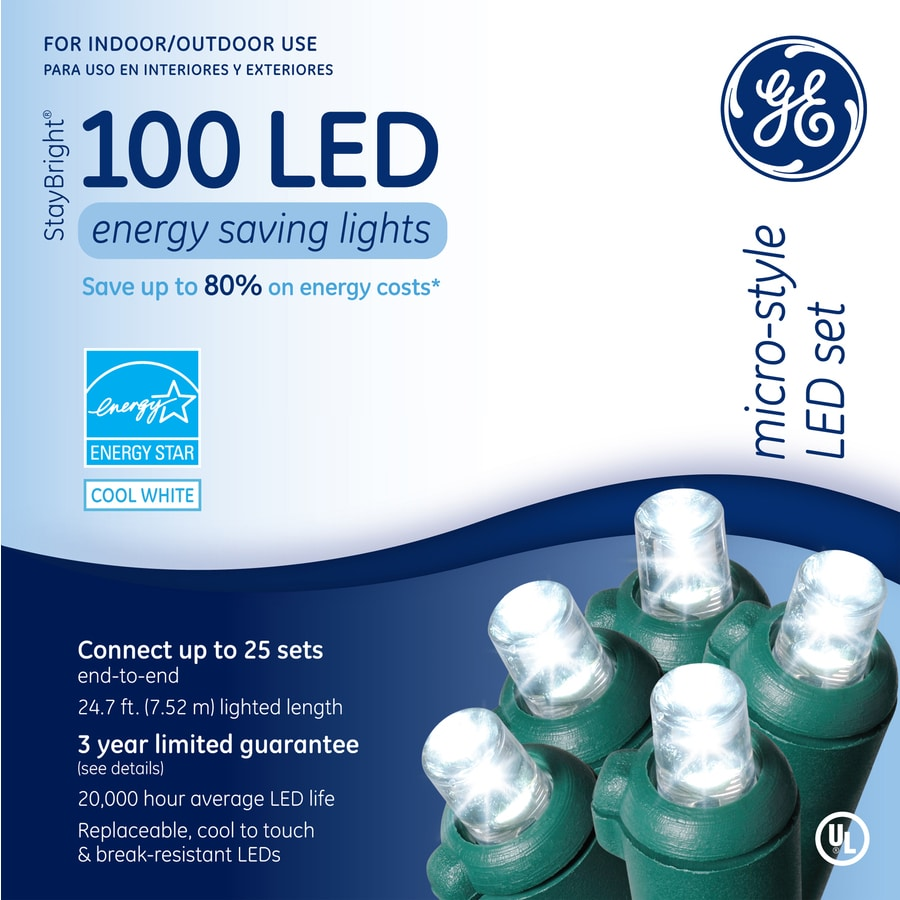 GE 100-Count LED Dome White Christmas String Lights ENERGY STAR