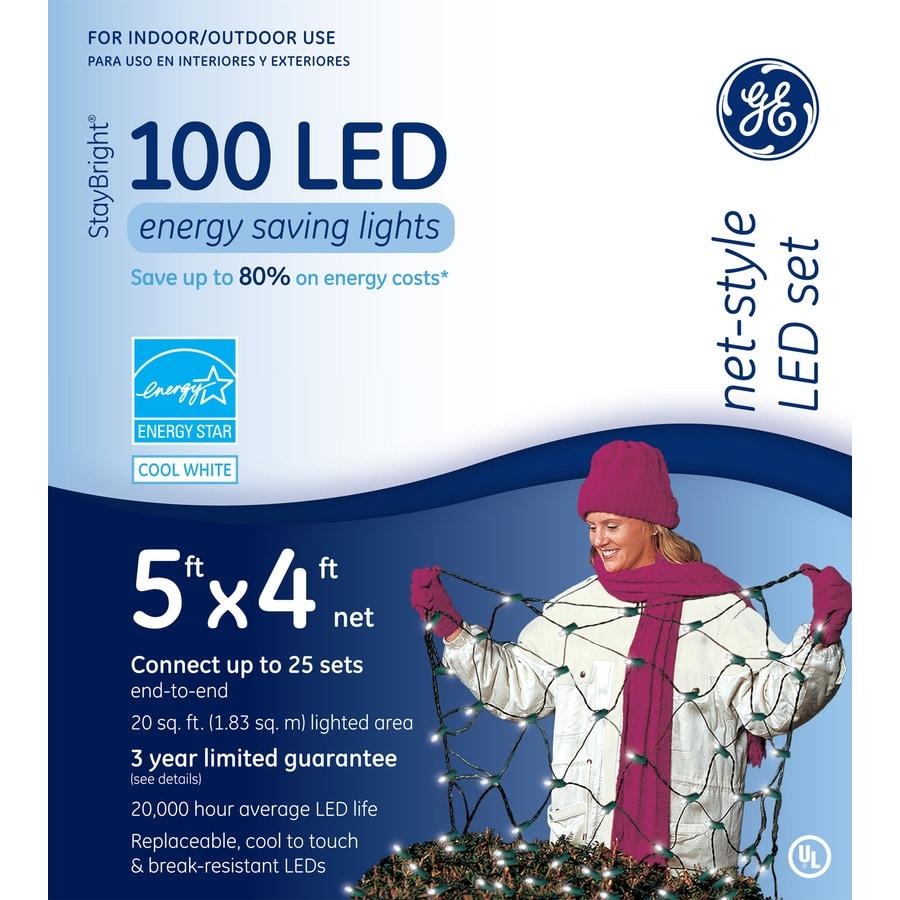 GE 100-Count LED Dome White Christmas Net String Lights ENERGY STAR