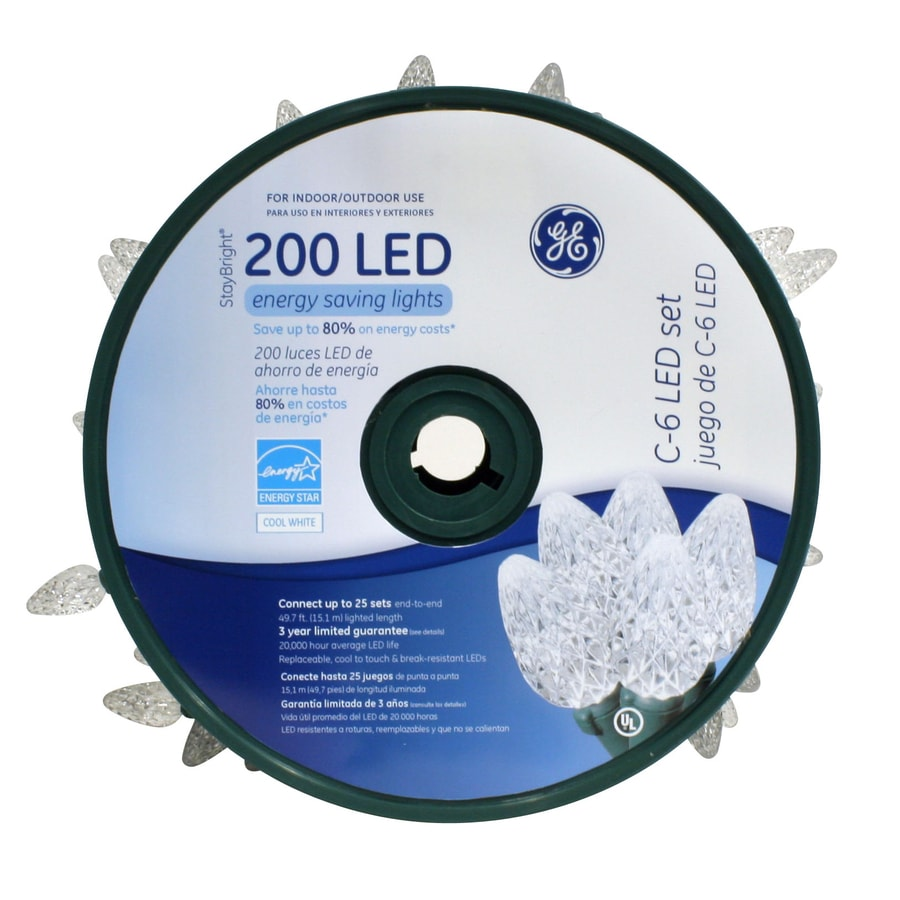 GE 200-Count LED C6 White Christmas String Lights ENERGY STAR