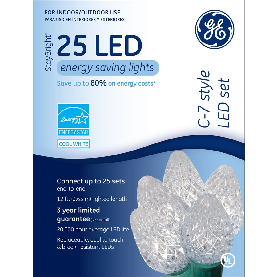 GE 25-Count LED C7 White Christmas String Lights ENERGY STAR