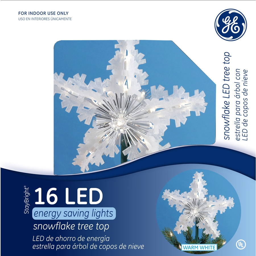 ge 975 in plastic lighted led snowflake christmas tree topper energy star - Led Christmas Tree Topper
