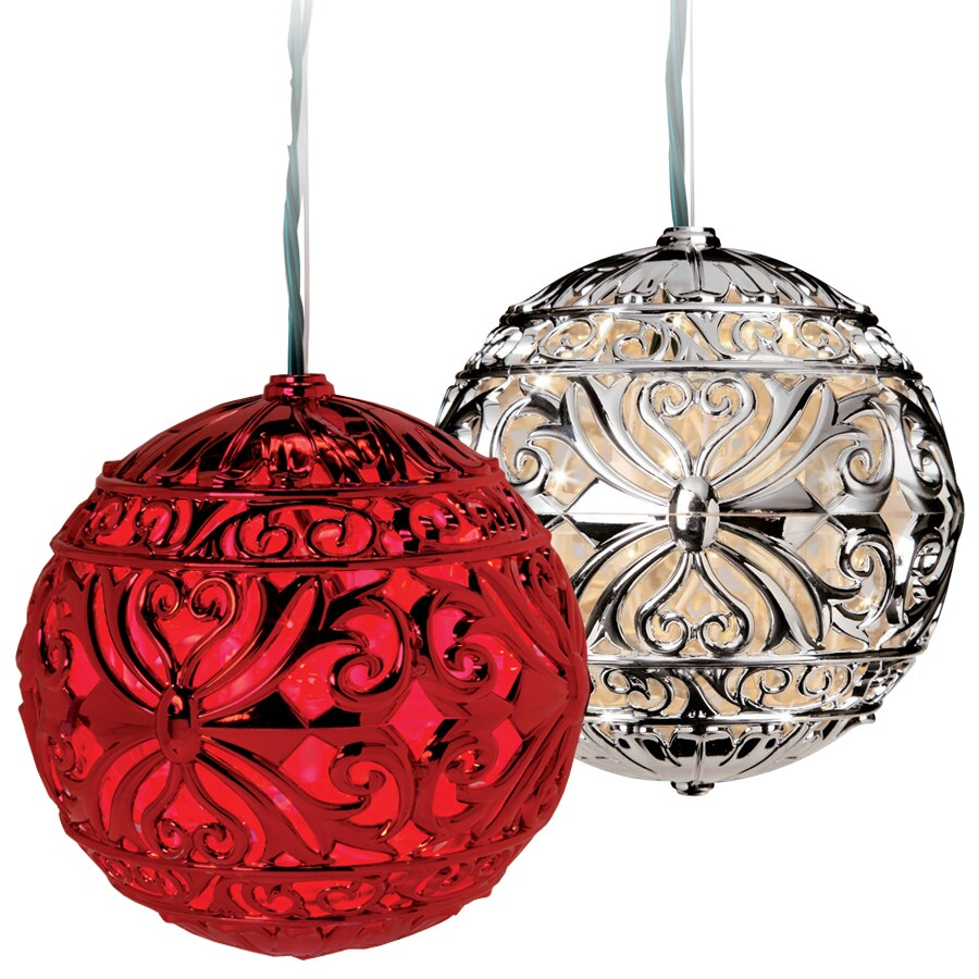 GE 0.5-ft Hanging Ball Filigree with Constant Red LED Lights
