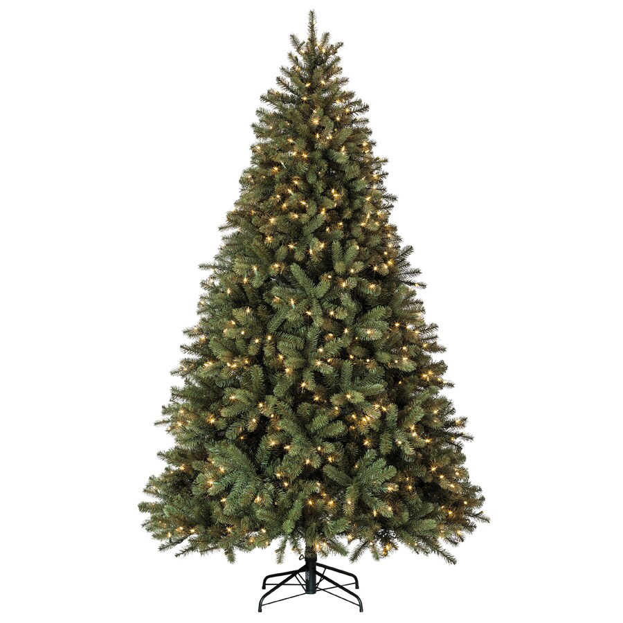 Holiday Living 7.5-ft 1833-Count Pre-lit Balsam Fir Artificial Christmas Tree with Constant 600 Single Plug White Clear Incandescent Lights