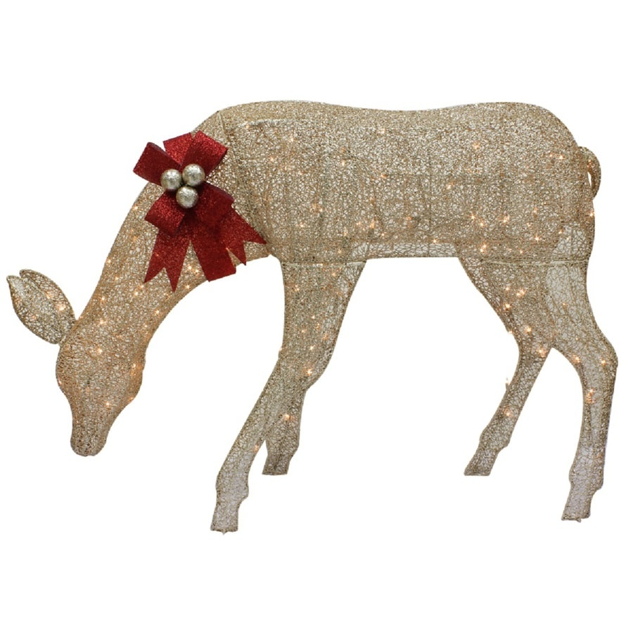 Holiday Living 4.75-ft Freestanding Doe Light Display with Constant White Incandescent Lights