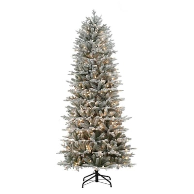 Artifical Christmas Trees.7 5 Ft Pre Lit Essex Fir Slim Flocked Artificial Christmas Tree With 400 Constant Warm White Led Lights
