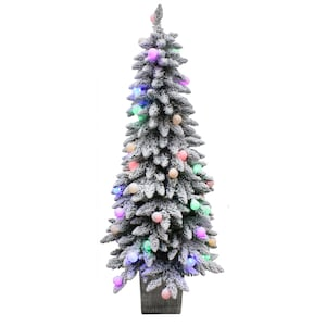 Pictures Of Christmas Trees.Holiday Living 5 Ft Pre Lit Spruce Slim Flocked Artificial Christmas Tree With 50 Constant Multicolor Led Lights At Lowes Com