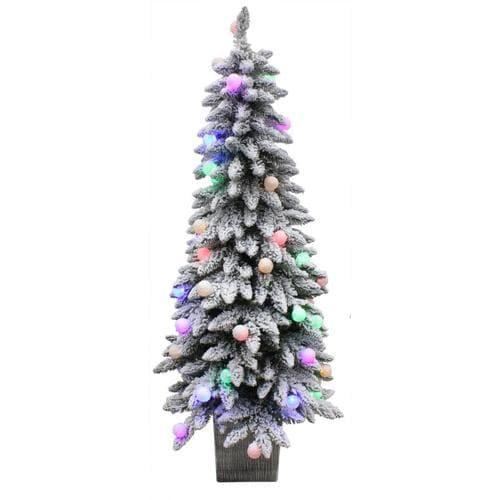 Holiday Living 5-ft Pre-Lit Spruce Slim Flocked Artificial ...