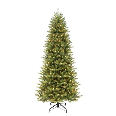 10 Ft Pre Lit Slim Artificial Christmas Tree With 900 Constant White Clear Incandescent Lights