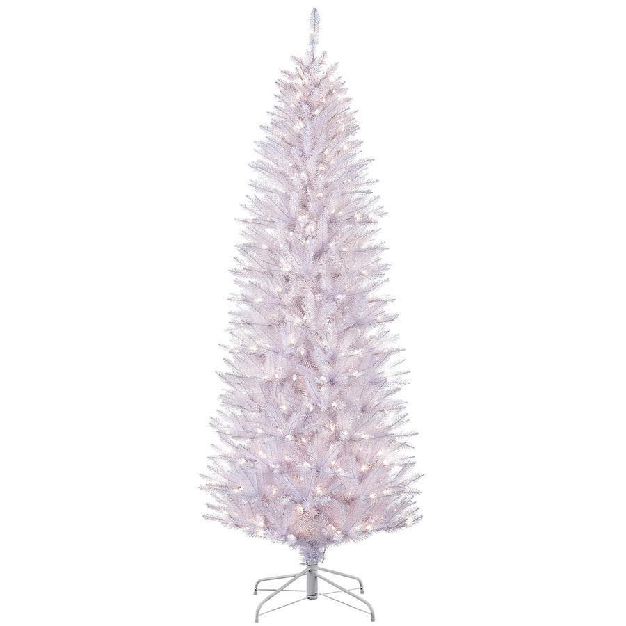 Puleo International 6.5-ft Pre-lit Slim Artificial Christmas Tree with 250 Constant White Clear Incandescent Lights