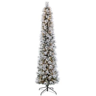 Slim Flocked Christmas Tree With Lights.Puleo International 7 5 Ft Pre Lit Pencil Pine Slim Flocked