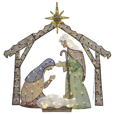 48 In Nativity Light Display With White Led Lights