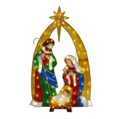 Holiday Living 49-in Tall Lighted Vintage Stained Glass Nativity