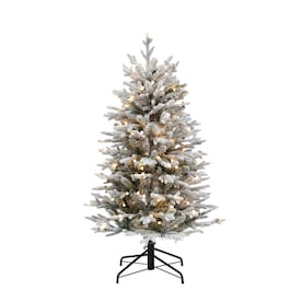 Sterling Tree Company 4 Ft Pine Pre Lit Flocked Assorted Artificial Christmas Tree With 100 Constant Warm White Incandescent Lights In The Artificial Christmas Trees Department At Lowes Com