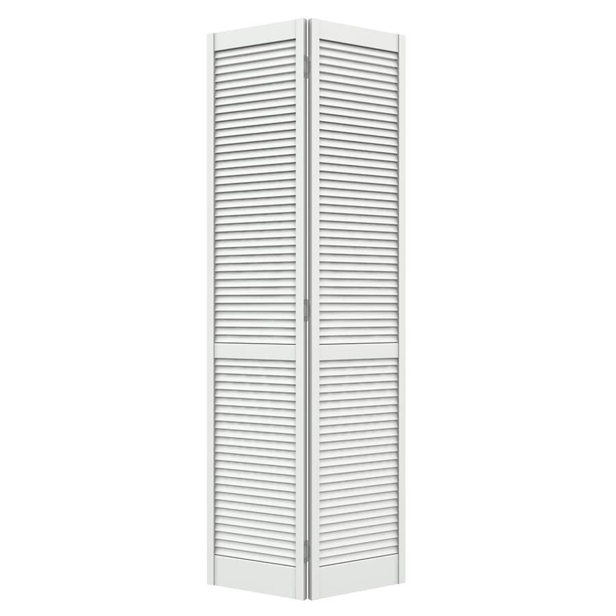 Jeld wen double louver white 6 panel wood pine bifold door with hardware common 24 in x 80 in for 6 panel oak interior door slab