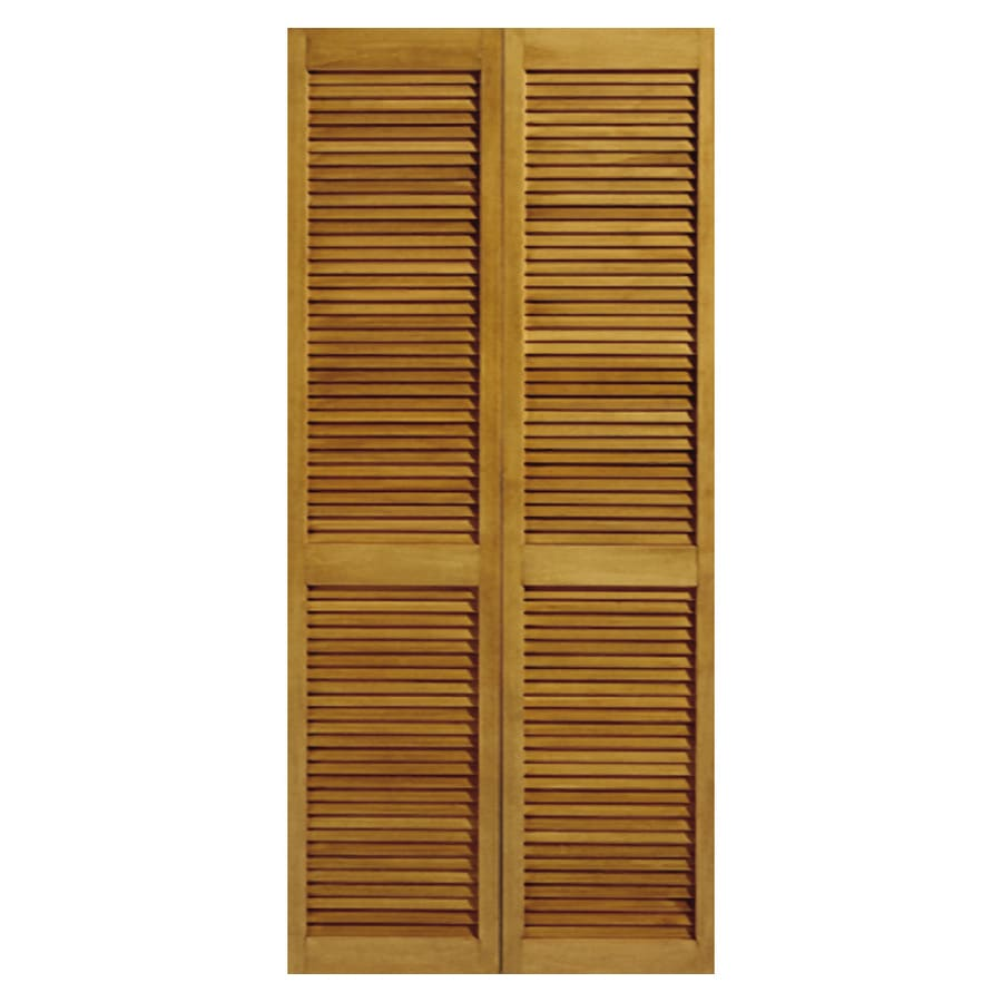 Shop Reliabilt 245 In X 6 Ft 8 In Louvered Solid Core Pine Bifold