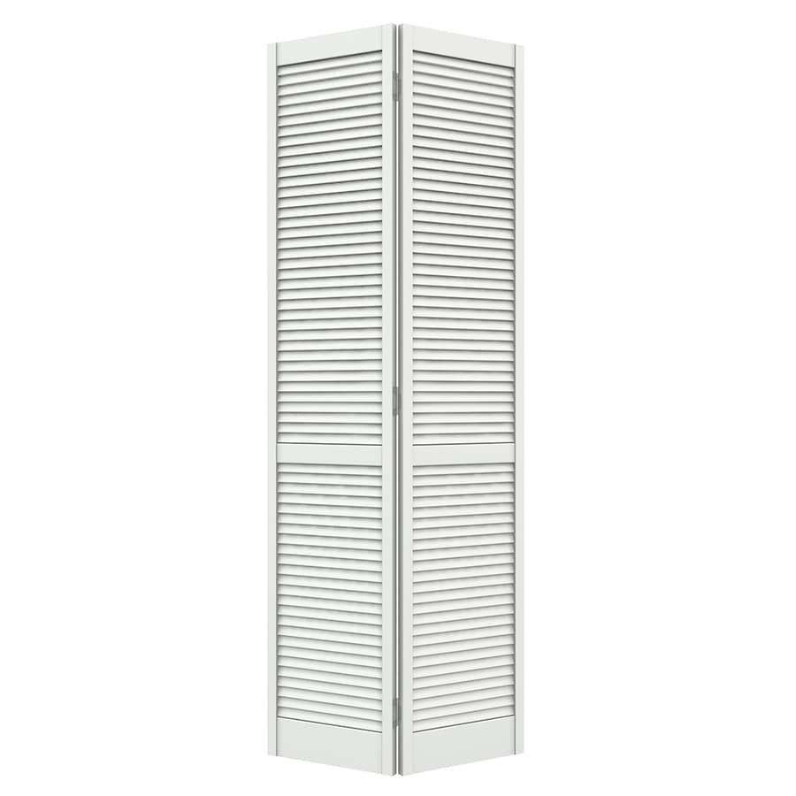 JELD WEN Louver Primed Louver Wood Pine Bifold Door With Hardware (Common:  24