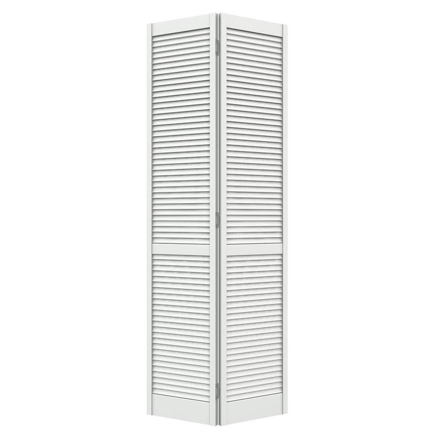 JELD WEN Louver Primed Pine Bi Fold Closet Interior Door With Hardware  (Common