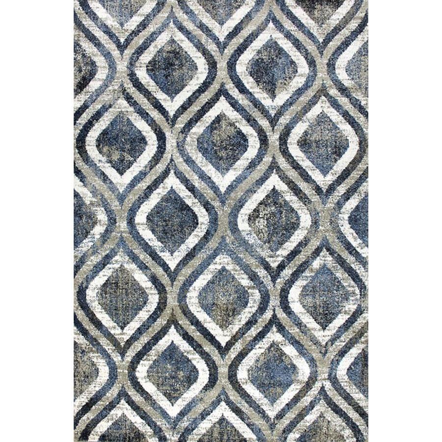 Carpet Art Deco Milos 5x7 Blue Beige Area Rug Blue Beige Indoor Area