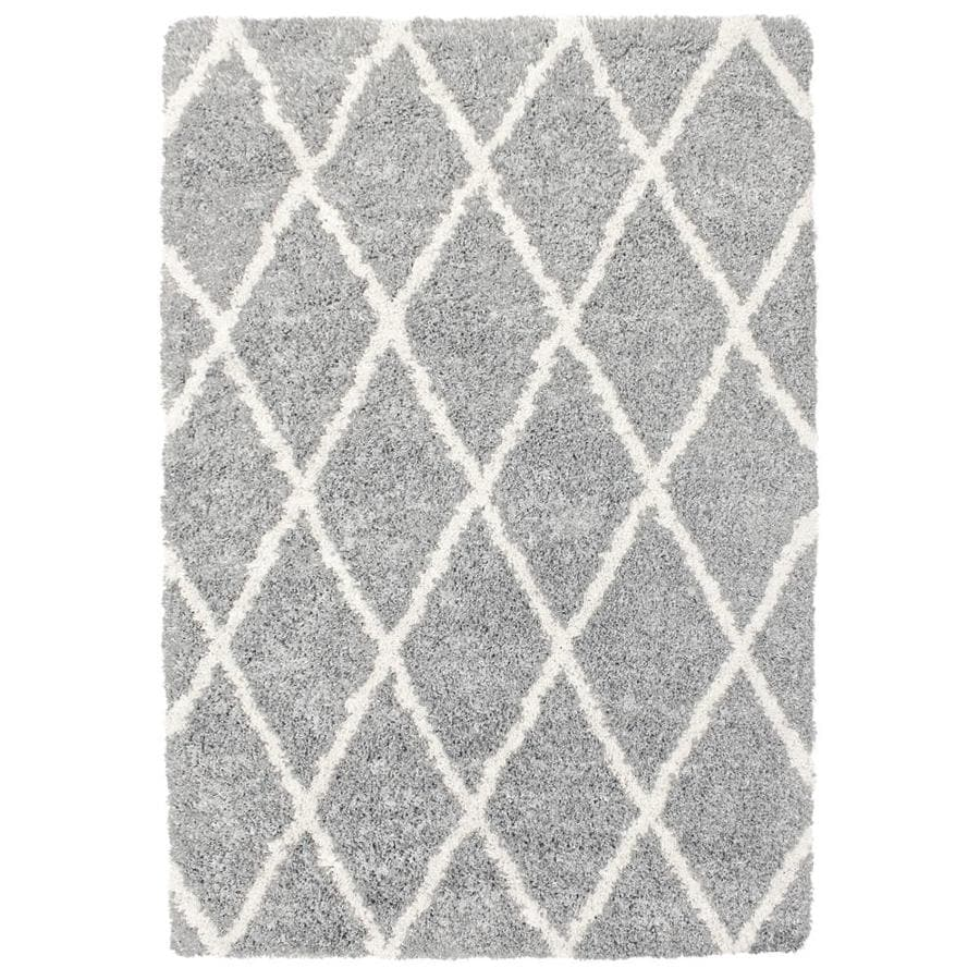 Carpet Art Deco Loft Shag 5x7 Gray Trellis Gray Rectangular Indoor