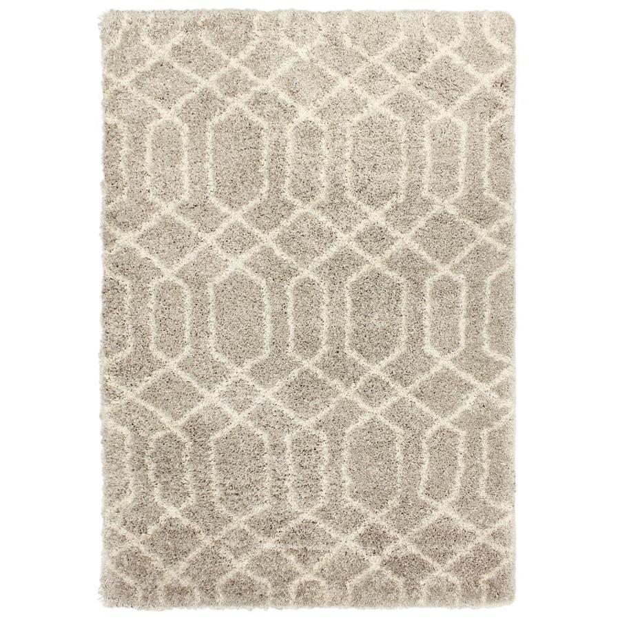Carpet Art Deco Loft Shag 5x7 Beige Ironwork Indoor Area Rug Common 5
