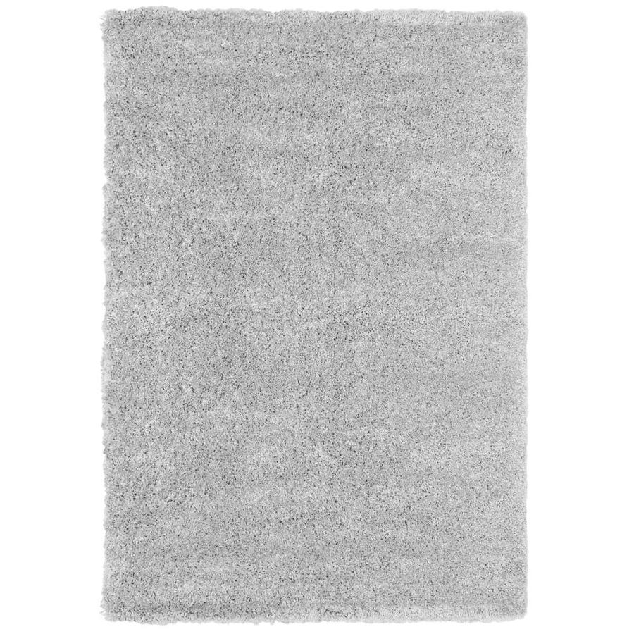 Carpet Art Deco Loft Shag Light Gray Light Gray Rectangular Indoor Machine-Made Area Rug (Common: 5 x 7; Actual: 0.14-ft W x 5-ft L x 7-ft dia)