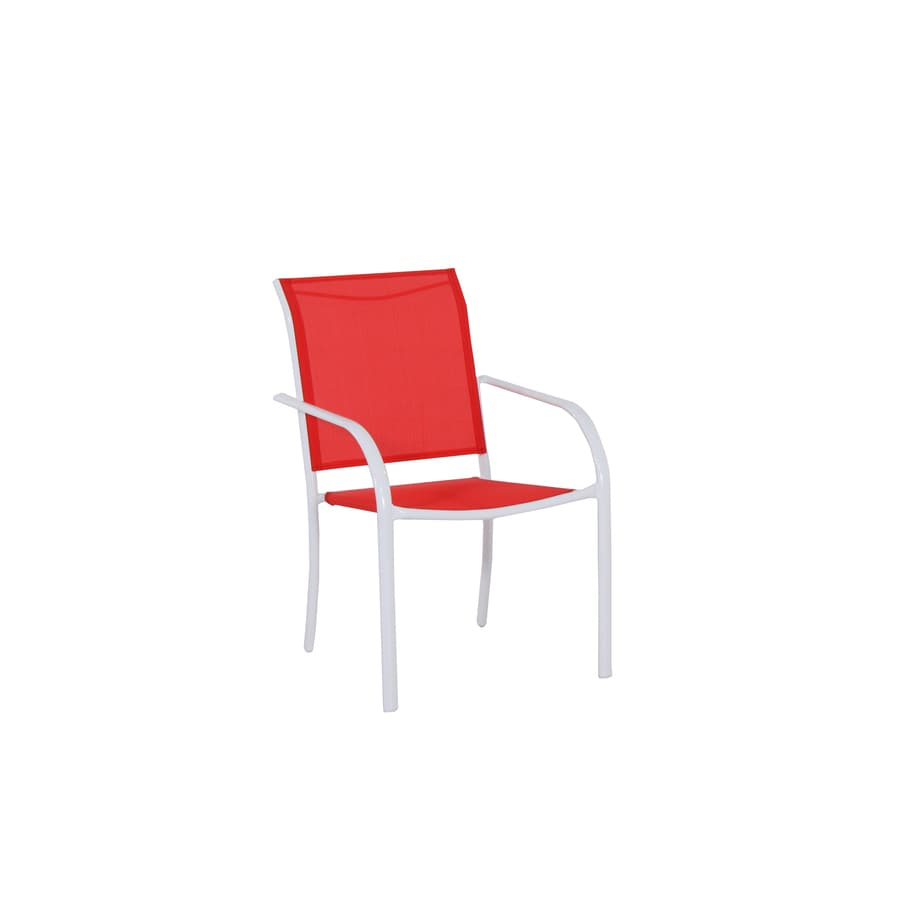 Garden Treasures Pagosa Springs White Steel Stackable Patio Dining Chair with Red Sling Fabric