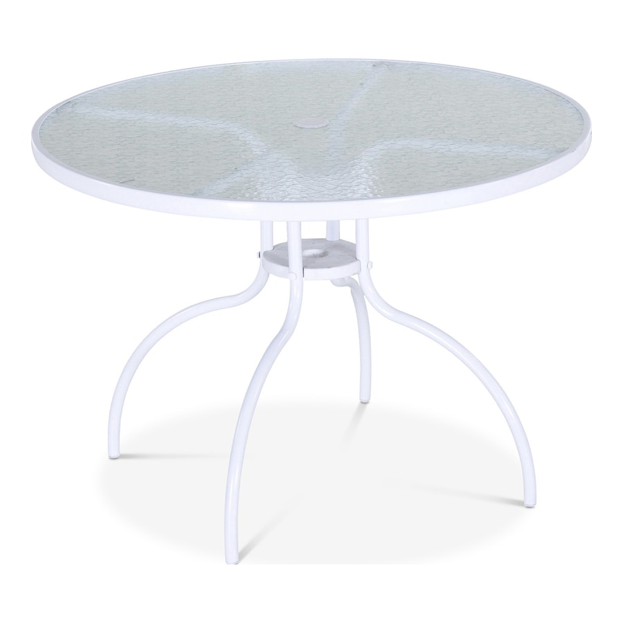 Garden Treasures Pagosa Springs 40-in W x 40-in L 4-Seat Round White Steel Patio Dining Table with a Glass Tabletop