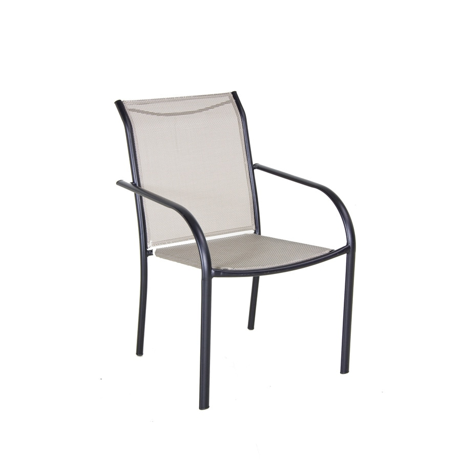 Garden Treasures Black Sling Seat Steel Stackable Patio Dining Chair