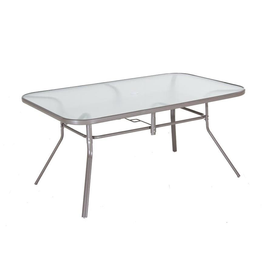 38 in w x 60 in l 6 seat taupe steel patio dining table with glass