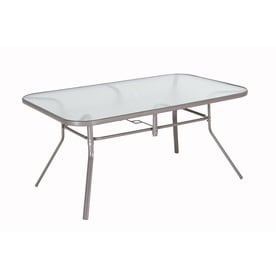 Shop patio tables at lowes garden treasures driscol 38 in w x 60 in l rectangular steel dining table watchthetrailerfo