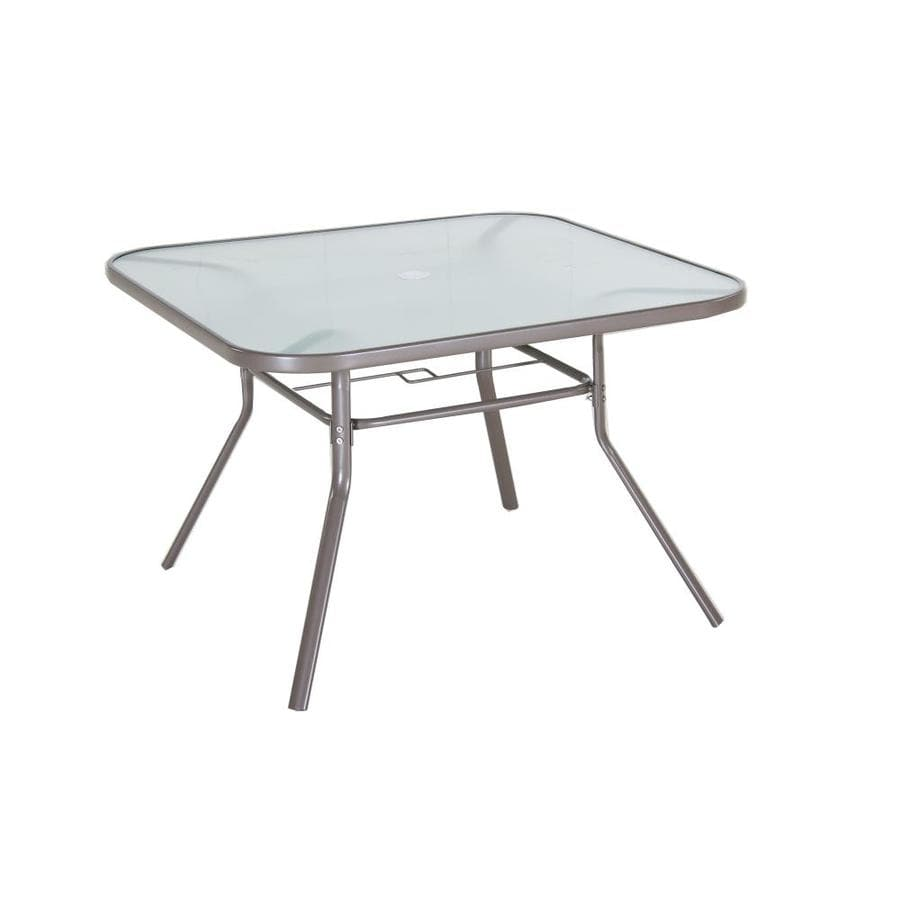 Shop garden treasures 42 in w x 42 in l square steel for Outdoor dining table glass top