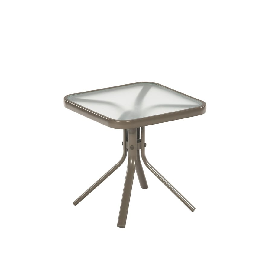 Garden Treasures Driscol 18-in W x 18-in L Square Taupe Steel End Table with Glass Tabletop