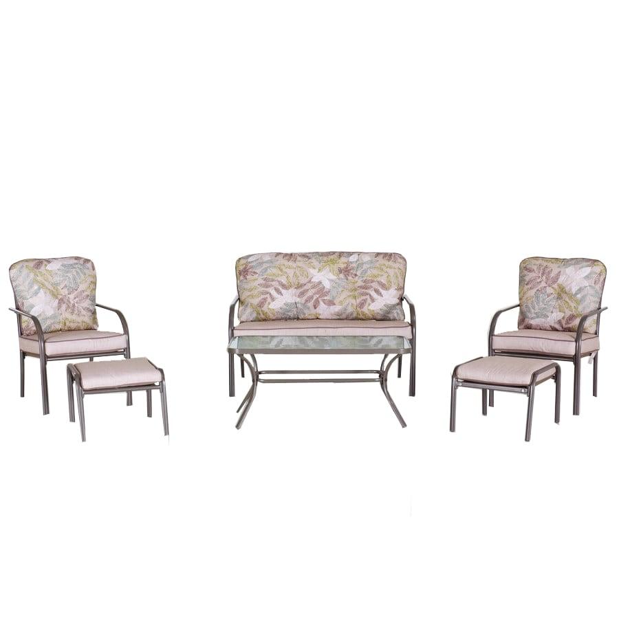 Garden Treasures 6-Piece Dunstan Patio Conversation Set with Floral Tan Cushions